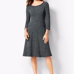 TALBOTS NAVY TWISTED BOUCLE FIT & FLARE DRESS